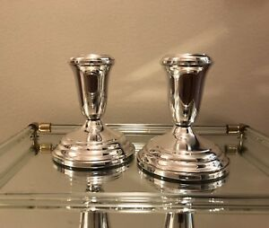 Vintage Sterling Silver Candlesticks Candle Holders