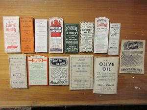 14 Old Large Pharmacy Apothecary Medicine Bottle Labels Vintage Ephemera Lot