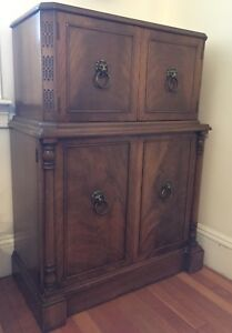 Early Grosfeld House Art Deco Solid Mahogany Dry Bar Cabinet C1920 1930