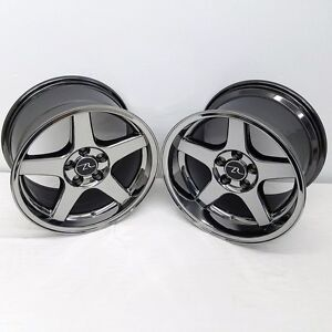 17 Black Chrome 03 Mustang Cobra Deep Dish Wheels 17x9 17x10 5 5x114 3 94 04