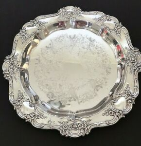 Towle Silverplate Serving Tray Rose Lattice Flower Round Platter 15