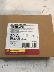 New In Box Square D Hom120epd Mini Circuit Breaker 120v 20a