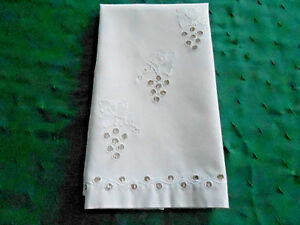 Exquisite Antique Towel Hand Embroidered Grape Pattern Vintage 1930