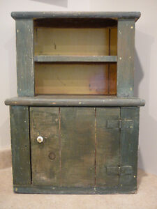 S20 Antique Child Doll Size Stepback Cupboard Cabinet Green Paint Square Nails