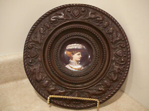 S25 Antique Art Pottery Porcelain Royal Portrait Plate Repousse Copper Frame