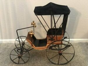 Antique Wood Victorian Style Doll Carriage Wheels Horseless Carriage Display