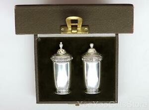 Heavy Boxed Irish Sterling Silver 925 Urn Shaped Salt Pepper Shakers Set
