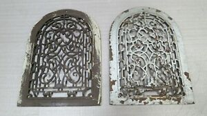 2 Cast Iron Grate Vent Arch Covers Victorian Wall Raised Matching Pair