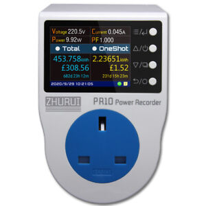 Uk bs13a Power Metering Plug Socket energy Meter Electricity Watt Meter