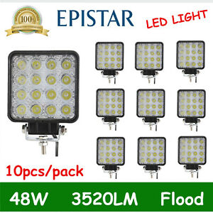 10x 48w Led Work Light Flood For Truck Driving Fog Lamp Square Jeep 4 3inch Boat