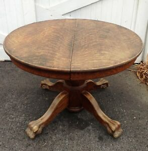 Antique Oak Pedestal Dining Table With Lion Paw Feet American Craftsmanship