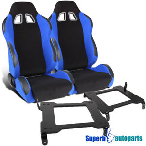 2005 2014 Mustang Jdm Black Blue Racing Seats Laser Welded Steel Brackets Pair