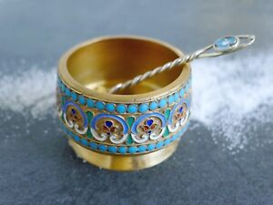 Antique Imperial Russian Enamel Cloisonne Silver Gold Salt Cellar Salt Spoon 2