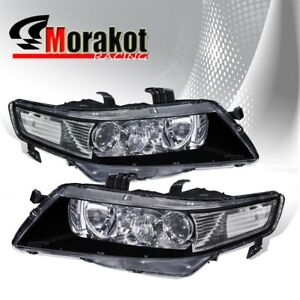 For 04 09 Acura Tsx Cl7 Cl9 Jdm Projector Black Headlights Clear Reflector Lamps