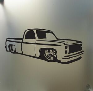 Chevy C10 1973 1987 Lowered Sticker Pickup Truck Low Stance Car Window Decal