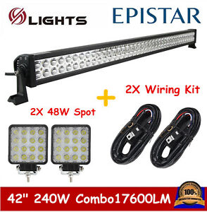 42inch 240w Led Light Bar Combo 2x 48w Pods Cube Offroad Jeep Truck 2xwiring Kit