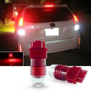 5 Times Flashing Strobe Red 3157 T25 Led Bulbs For Taillight Brake Stop Lights