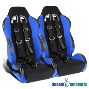 2x Blue Black Jdm Off road Racing Bucket Seats black Camlock Seat Belts