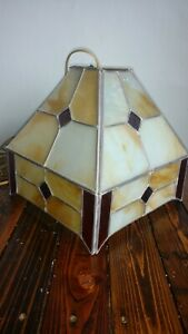 Antique Arts Crafts Era Slag Stained Glass Light Lamp Chandelier Shade Plug In