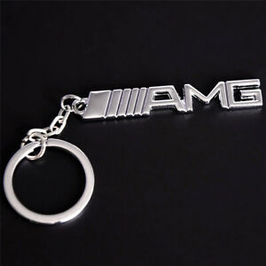 Chrome Amg Letters Car Key Ring Key Chain For Mercedes Benz A B C E S G R Series