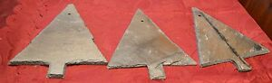 Primitive Christmas Tree Shaped Slate With Hole For Hanging Set Of 3