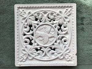 Vintage Sand Cast Fireplace Mantle Insert Vent Pheasant Scroll Work