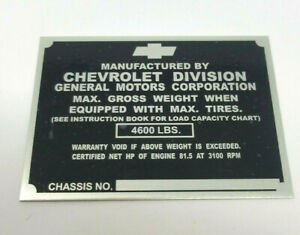 Chevrolet Chevy 1 2 Ton Pickup Truck Identification Plate 1942 1946 Non Stamped