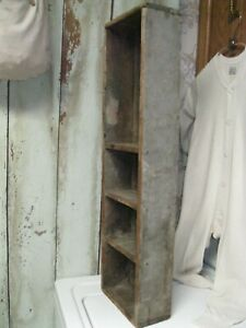 Antique Early Primitive Wood 29 Cubby Shelf Original Dry Green Gray Paint