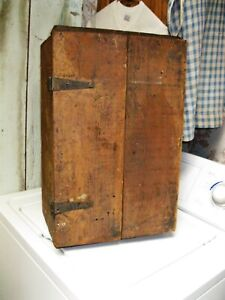 Antique Primitive Small Wood Cupboard Chest W Old Rust Paint