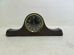 1940 S Smiths 30 Hour Mantel Clock In Solid Carved Wooden Case With Bun Feet