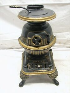 Early Spark Salesman Sample Cast Iron Pot Belly Wood Cook Stove Toy Mount Joy