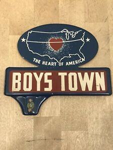 Vintage Boys Town Automotive License Plate Tag Topper