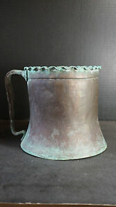 Primitive Antique Vintage Copper Chamber Pot Waterjug Tankard Planter