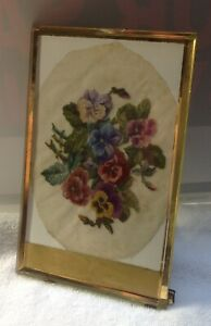 Antique Micro Petit Point Pansies In Antique Bevelled Glass Frame Dated 1881