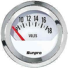 Sunpro Analog Styleline Mechanical Volt Gauge White Face Mechanical Voltage
