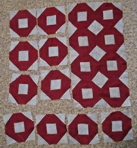 Vintage Hand Pieced Quilt Blocks Red Black Navy White Cotton Fabric 37pc 1940 S