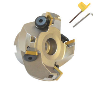 45 Degree Indexable Face Mill Cutter 2 1 2 Inch Cutting With Sekn Inserts