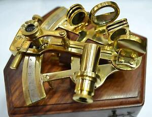 Marine Sextant In Wooden Box Nautical Boat Sailing Sea Navigation Instrument New