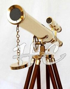 Marine Nautical Navy Brass Double Barrel Telescope 18 With Wooden Tripod Stand