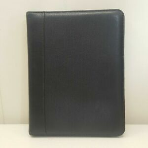 Franklin Quest Black Planner Binder Office Organizer Zip 7 Rings Verona Leather
