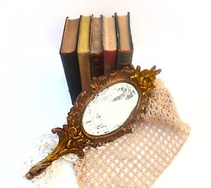 18th Century French Hand Held Gilded Wood Mirror So Precious Rare Distressed