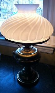 Converted Kerosene Stand Lamp May Be Brass With Milk Glass Shade
