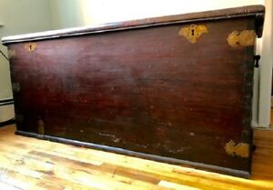 Large 19th Century Antique Chinese Camphor Wood Trunk Brass Details