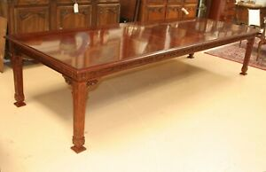 Kindel Furniture Chinese Chippendale Mahogany Dining Table L 11 5 Ft W 4 Leaves