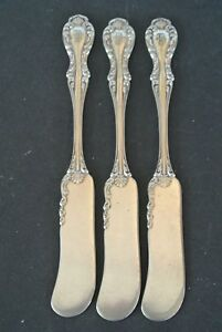 Set Of 3 1835 R Wallace Silverplate Joan 5 5 Butter Knife Spreaders