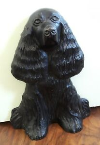 Vintage 1949 Virginia Metalcrafters Cast Iron Cocker Spaniel Dog Doorstop Signed