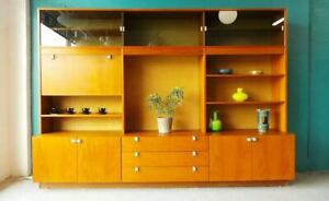 Mid Century Danish Modern Large And Stunning Teak Wall Unit With Locking Bar By