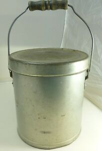 Antique Vintage Metal Ice Cream Pail Can Milk Canister Wire Bail Handle