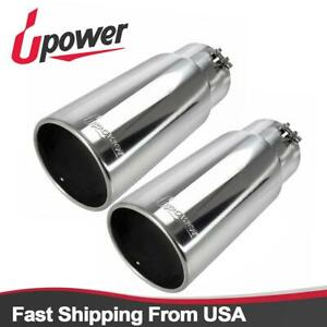 Pack Of 2 Diesel Clamp On Exhaust Tip Polished Tailpipe 5 Inlet 6 Outlet 18 Long