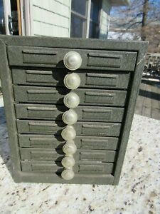 Original Early 1900 S Small 8 Drawer Pharmacy Apothecary Label Cabinet